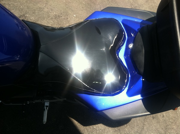 My 2009 R1 right after I added a gel seat pad and gave it the custom heart-shaped seat cover I'd also done for my 2004.